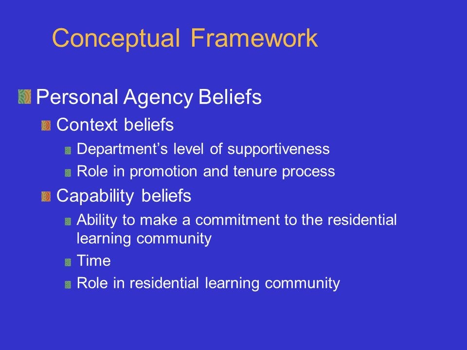 Conceptual Framework Personal Agency Beliefs Context beliefs Departments level of supportiveness Role in promotion and tenure process Capability belie