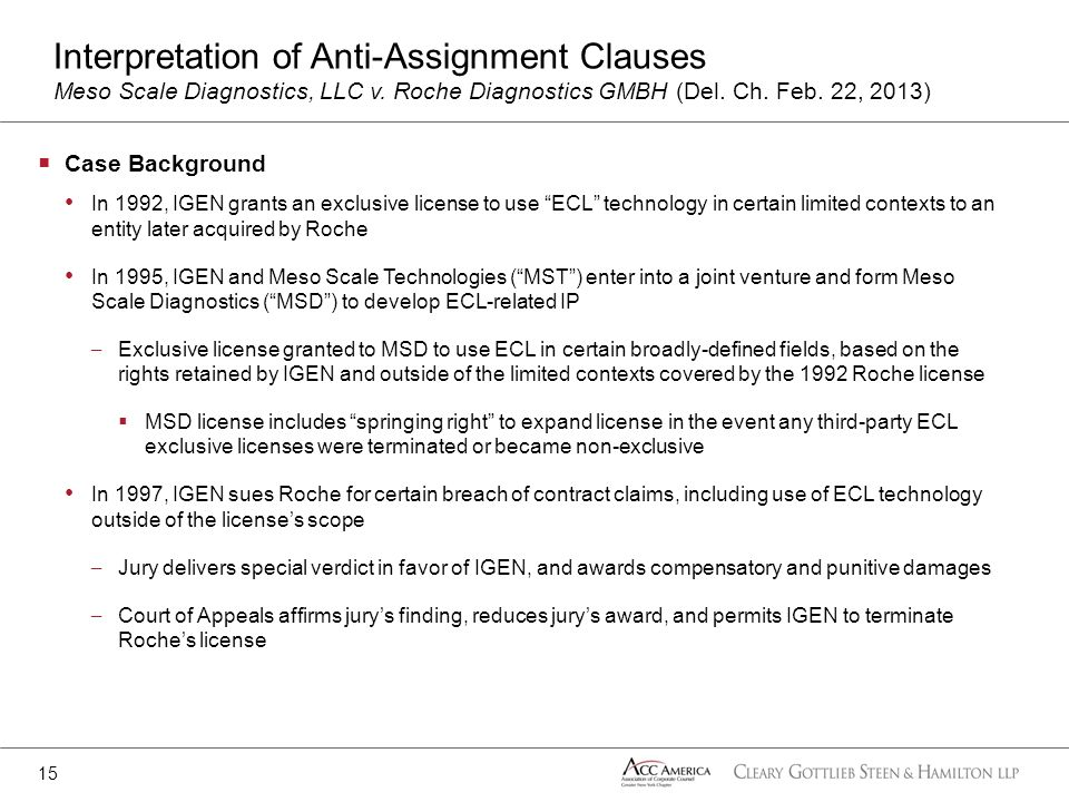 Case Background In 1992, IGEN grants an exclusive license to use ECL technology in certain limited contexts to an entity later acquired by Roche In 19
