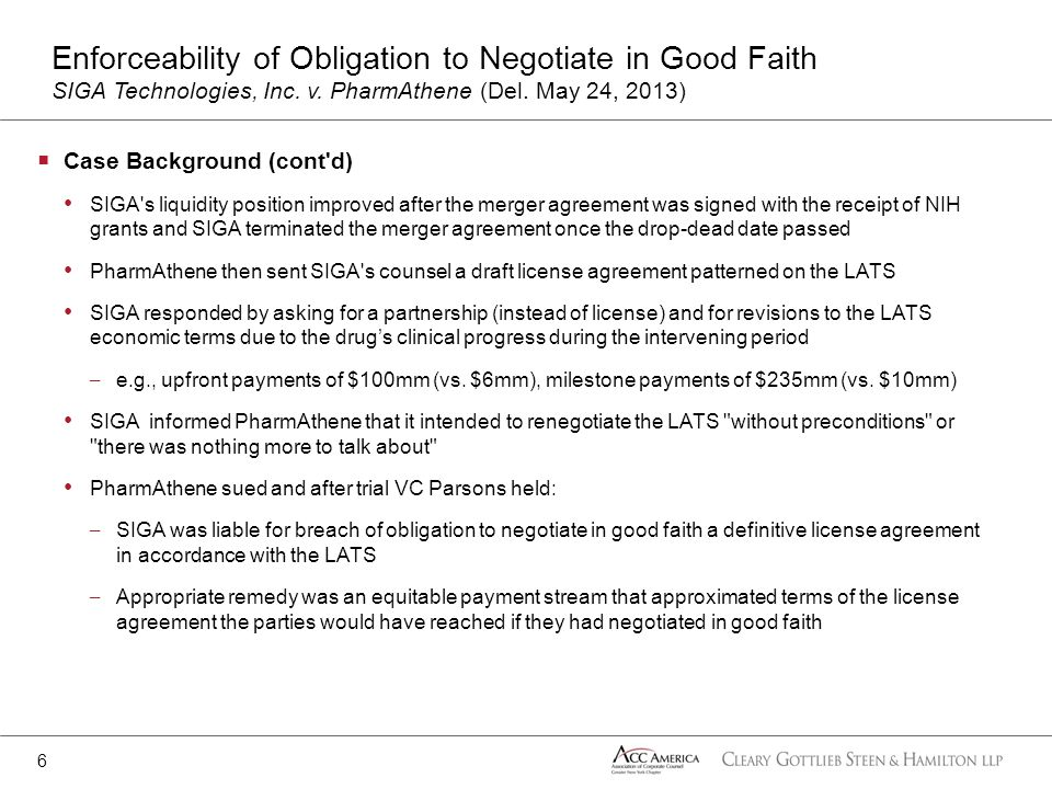 Case Background (cont'd) SIGA's liquidity position improved after the merger agreement was signed with the receipt of NIH grants and SIGA terminated t