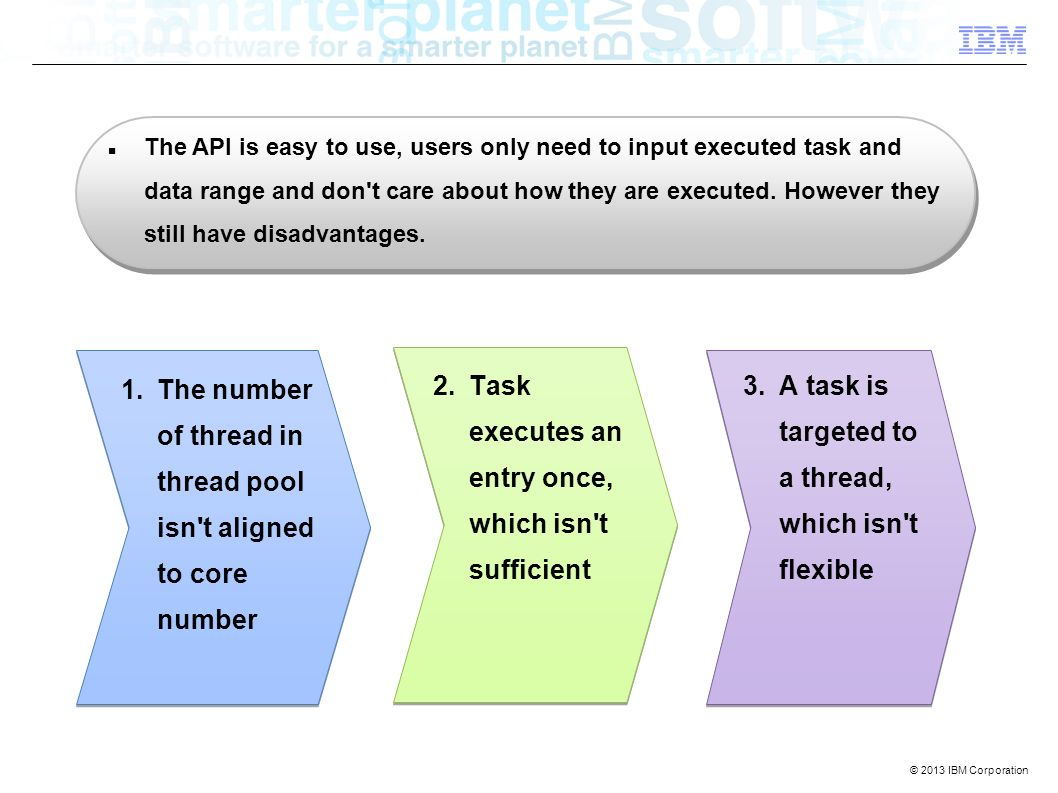The API is easy to use, users only need to input executed task and data range and don t care about how they are executed.