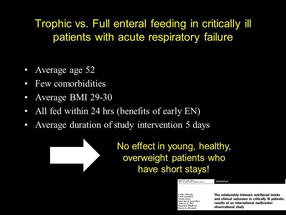 Trophic vs. Full enteral feeding in critically ill patients with acute respiratory failure Average age 52 Few comorbidities Average BMI 29-30 All fed