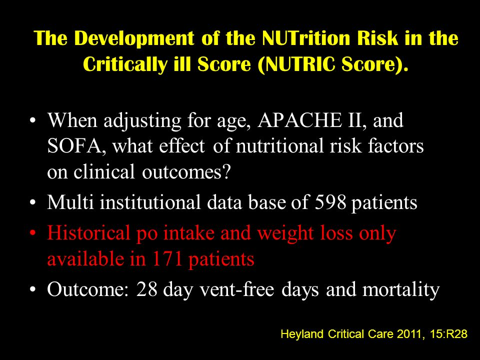 The Development of the NUTrition Risk in the Critically ill Score (NUTRIC Score). When adjusting for age, APACHE II, and SOFA, what effect of nutritio