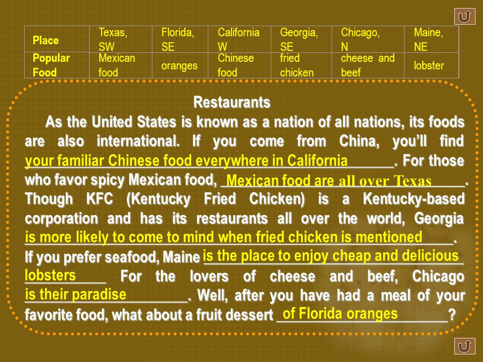 Restaurants As the United States is known as a nation of all nations, its foods are also international.