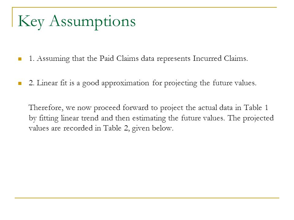 Key Assumptions 1. Assuming that the Paid Claims data represents Incurred Claims.