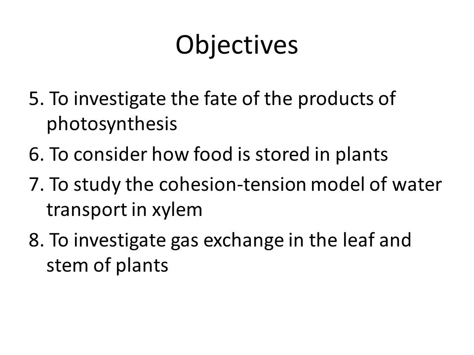 Objectives 5. To investigate the fate of the products of photosynthesis 6. To consider how food is stored in plants 7. To study the cohesion-tension m
