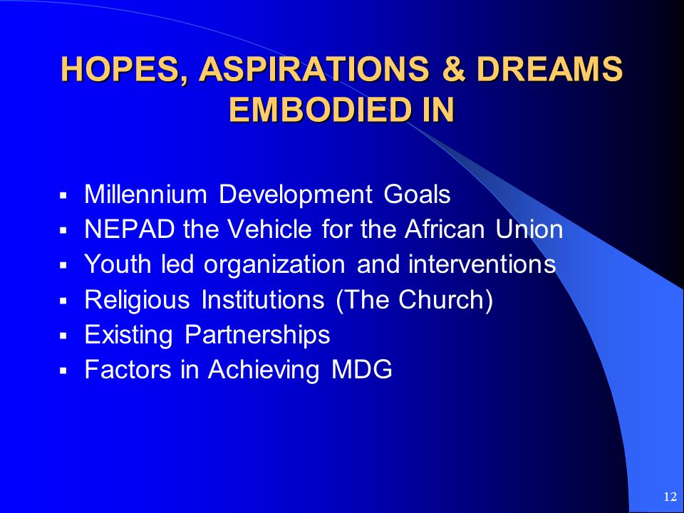 12 HOPES, ASPIRATIONS & DREAMS EMBODIED IN Millennium Development Goals NEPAD the Vehicle for the African Union Youth led organization and interventio