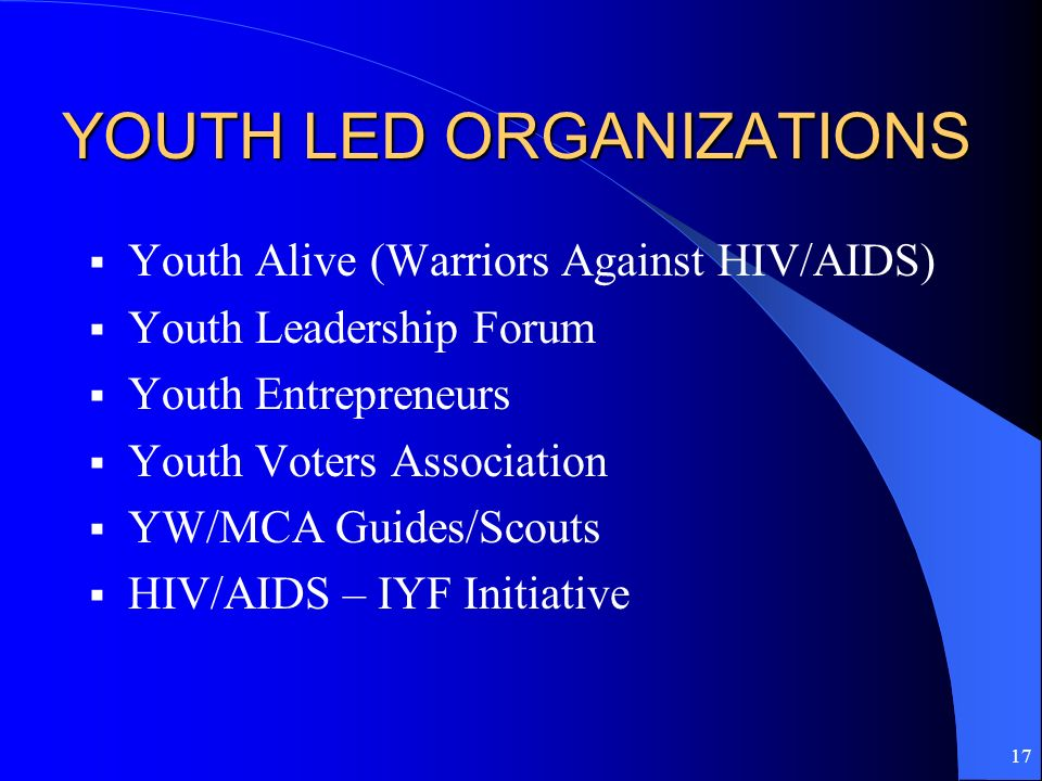 17 YOUTH LED ORGANIZATIONS Youth Alive (Warriors Against HIV/AIDS) Youth Leadership Forum Youth Entrepreneurs Youth Voters Association YW/MCA Guides/S
