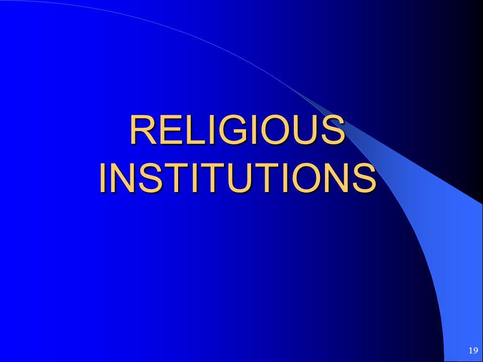 19 RELIGIOUS INSTITUTIONS