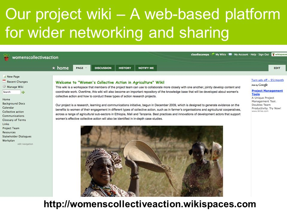 Our project wiki – A web-based platform for wider networking and sharing http://womenscollectiveaction.wikispaces.com