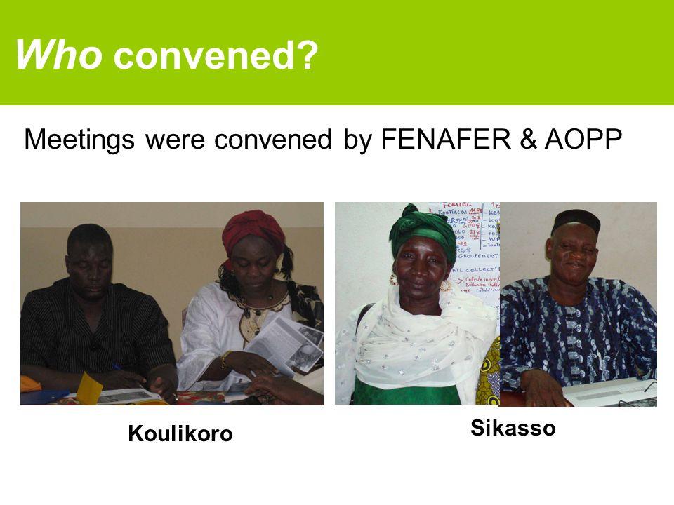 Meetings were convened by FENAFER & AOPP Who convened? Koulikoro Sikasso