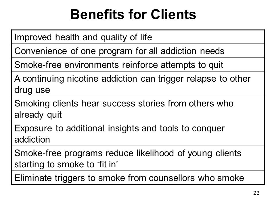23 Benefits for Clients Improved health and quality of life Convenience of one program for all addiction needs Smoke-free environments reinforce attem