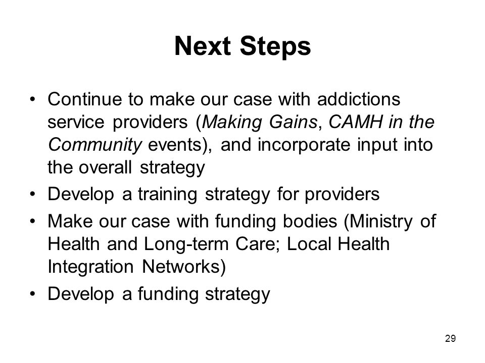 29 Next Steps Continue to make our case with addictions service providers (Making Gains, CAMH in the Community events), and incorporate input into the