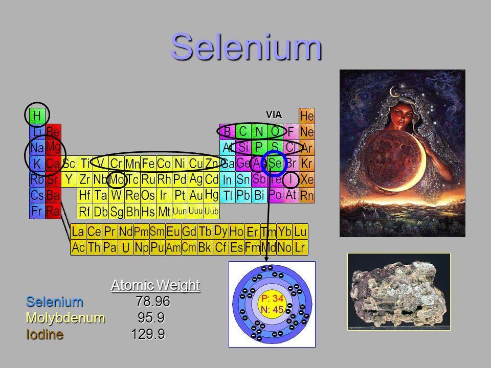 Selenium VIA Atomic Weight Atomic Weight Selenium 78.96 Molybdenum 95.9 Iodine 129.9