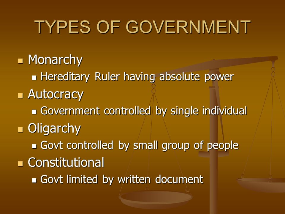 TYPES OF GOVERNMENT Monarchy Monarchy Hereditary Ruler having absolute power Hereditary Ruler having absolute power Autocracy Autocracy Government controlled by single individual Government controlled by single individual Oligarchy Oligarchy Govt controlled by small group of people Govt controlled by small group of people Constitutional Constitutional Govt limited by written document Govt limited by written document