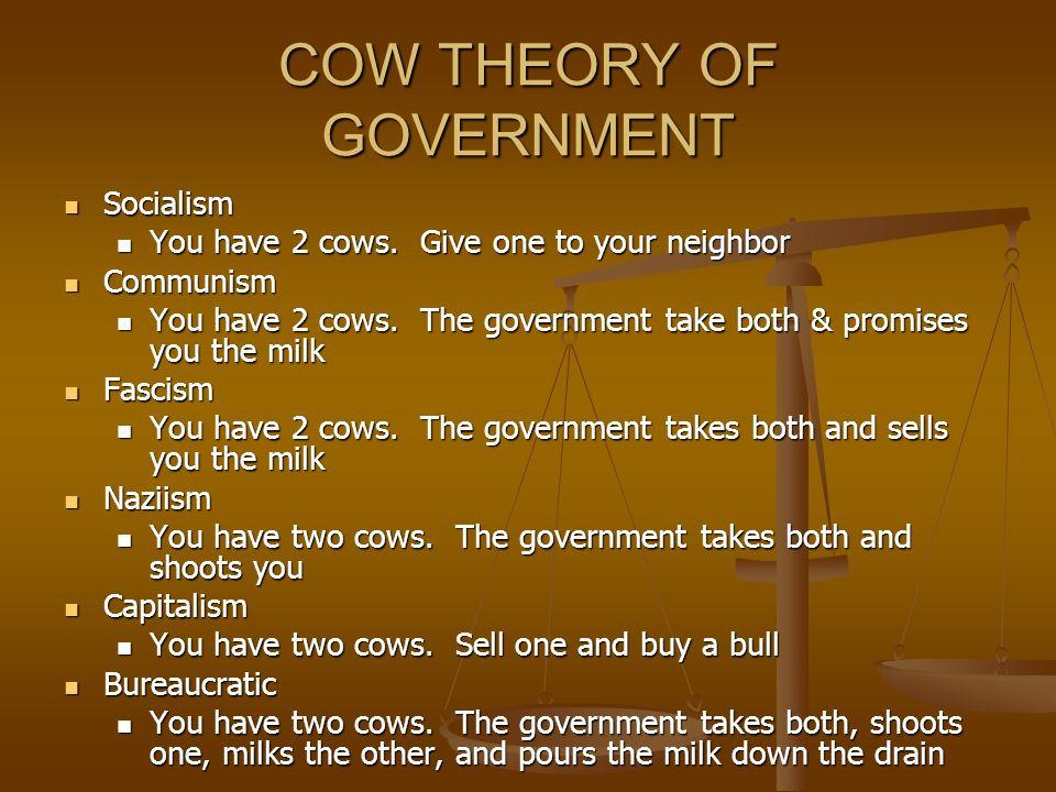 COW THEORY OF GOVERNMENT Socialism Socialism You have 2 cows.