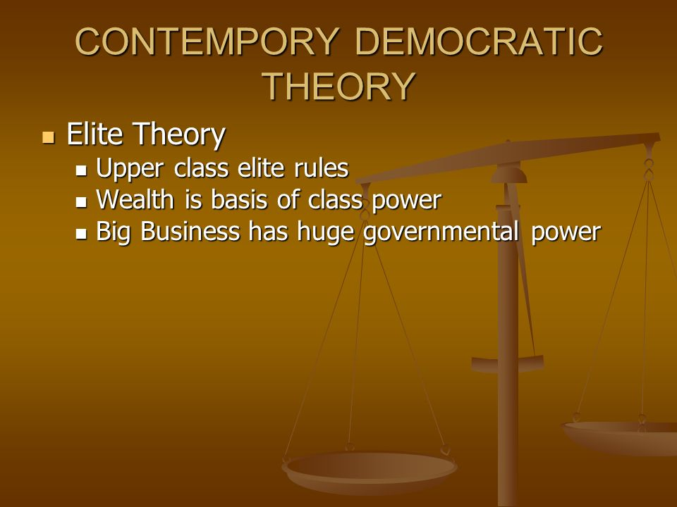 CONTEMPORY DEMOCRATIC THEORY Elite Theory Elite Theory Upper class elite rules Upper class elite rules Wealth is basis of class power Wealth is basis of class power Big Business has huge governmental power Big Business has huge governmental power