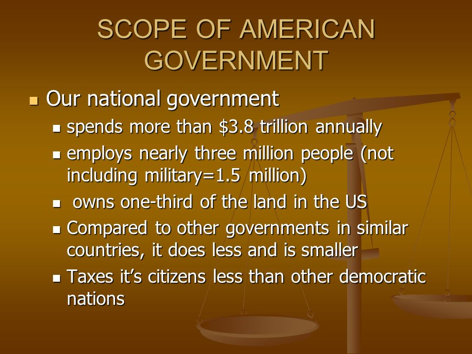 SCOPE OF AMERICAN GOVERNMENT Our national government Our national government spends more than $3.8 trillion annually spends more than $3.8 trillion annually employs nearly three million people (not including military=1.5 million) employs nearly three million people (not including military=1.5 million) owns one-third of the land in the US owns one-third of the land in the US Compared to other governments in similar countries, it does less and is smaller Compared to other governments in similar countries, it does less and is smaller Taxes its citizens less than other democratic nations Taxes its citizens less than other democratic nations