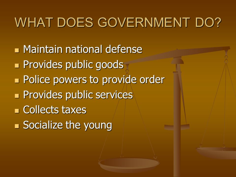 WHAT DOES GOVERNMENT DO.