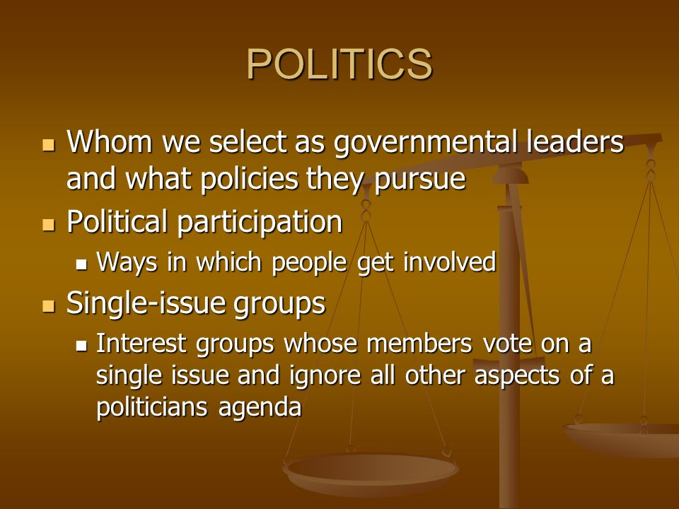 POLITICS Whom we select as governmental leaders and what policies they pursue Whom we select as governmental leaders and what policies they pursue Political participation Political participation Ways in which people get involved Ways in which people get involved Single-issue groups Single-issue groups Interest groups whose members vote on a single issue and ignore all other aspects of a politicians agenda Interest groups whose members vote on a single issue and ignore all other aspects of a politicians agenda