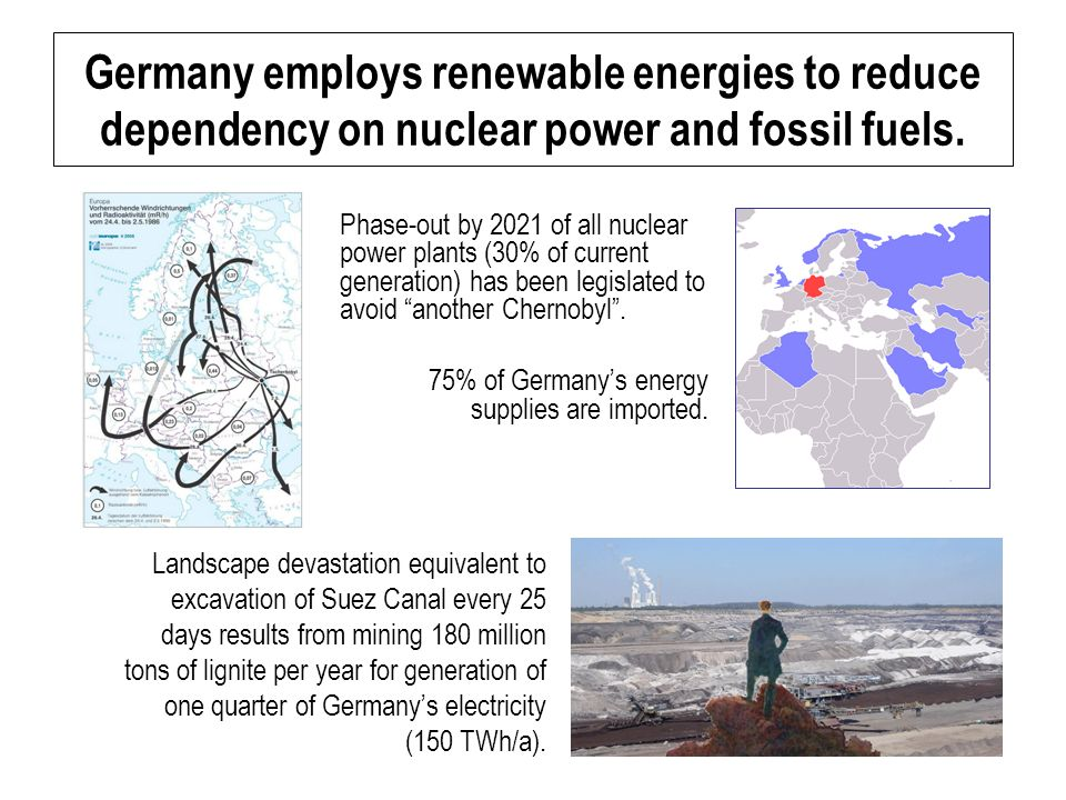 Germany employs renewable energies to reduce dependency on nuclear power and fossil fuels.