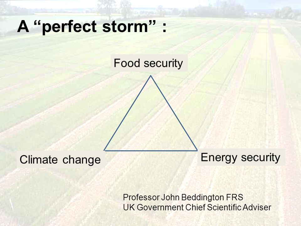 A perfect storm : Professor John Beddington FRS UK Government Chief Scientific Adviser Climate change Food security Energy security