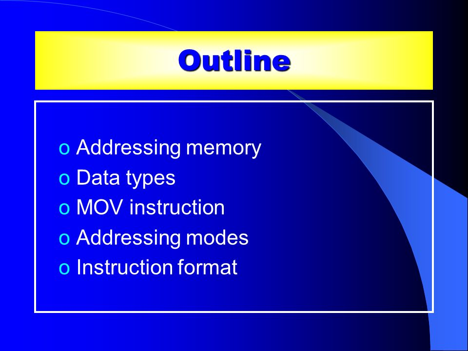 Basics oMemory in the x86 processors is byte- addressable oWhenever we present an address to the address bus, we specify the location of a byte in memory oByte is the basic memory unit oIt is possible to retrieve/store more than one bytes with a single memory access o16-bit words, consecutive bytes o32-bit doublewords, consecutive bytes