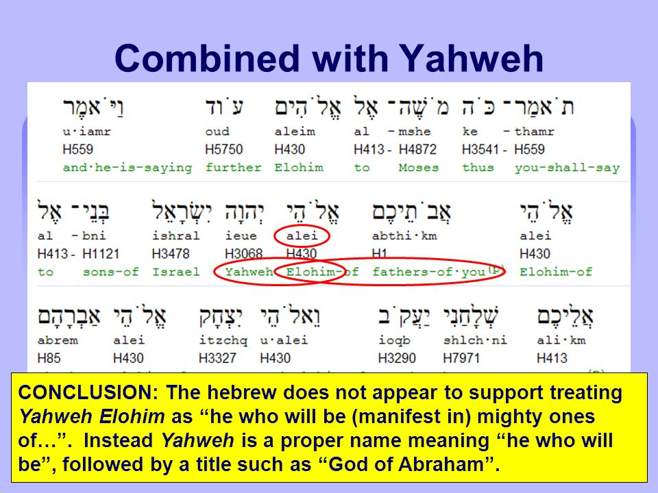 Combined with Yahweh RV, RSV, ESV, NIV, Roth, YLT - LORD, the God of… CONCLUSION: The hebrew does not appear to support treating Yahweh Elohim as he who will be (manifest in) mighty ones of….
