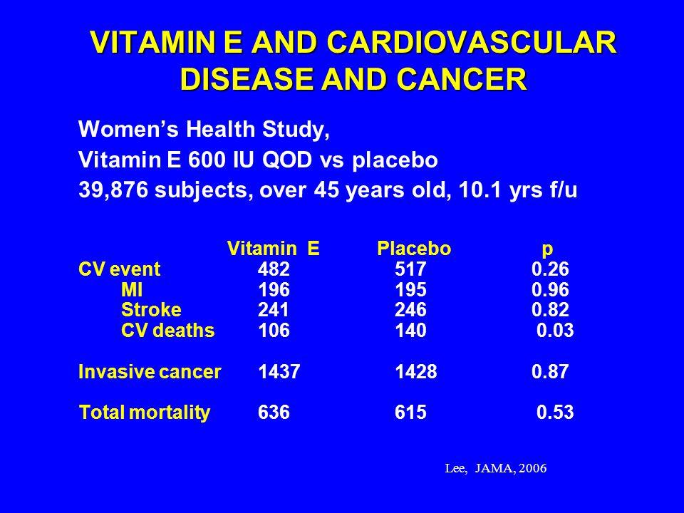 Lee, JAMA, 2006 VITAMIN E AND CARDIOVASCULAR DISEASE AND CANCER Womens Health Study, Vitamin E 600 IU QOD vs placebo 39,876 subjects, over 45 years ol