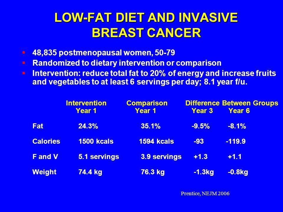 Prentice, NEJM 2006 LOW-FAT DIET AND INVASIVE BREAST CANCER 48,835 postmenopausal women, 50-79 Randomized to dietary intervention or comparison Interv