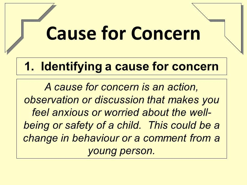 Cause for Concern A cause for concern is an action, observation or discussion that makes you feel anxious or worried about the well- being or safety of a child.