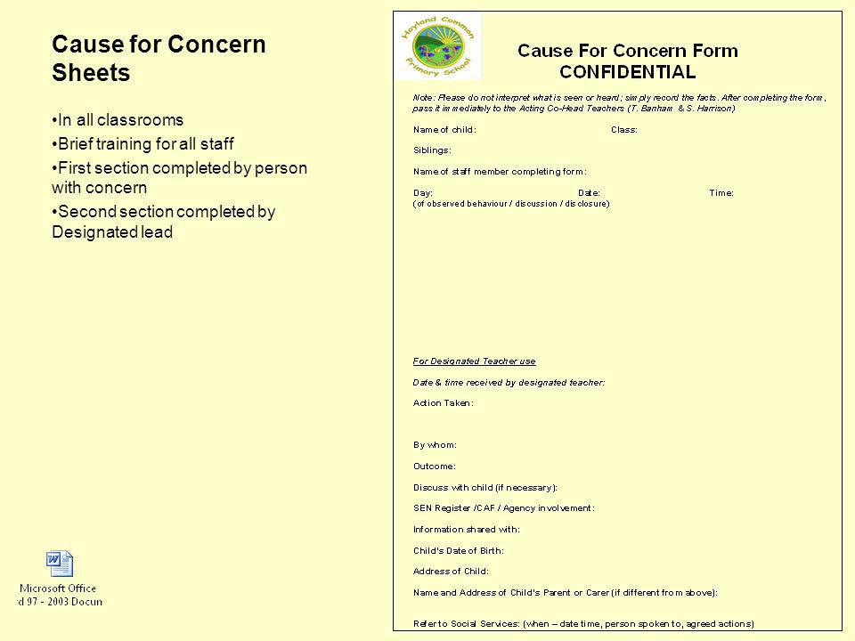 Cause for Concern Sheets In all classrooms Brief training for all staff First section completed by person with concern Second section completed by Designated lead