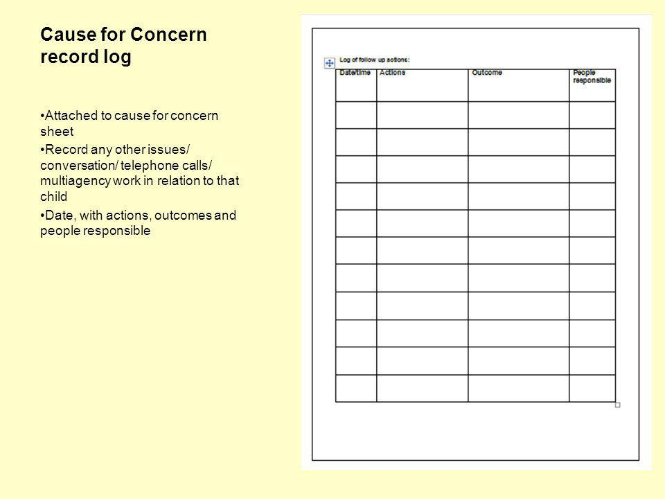 Cause for Concern record log Attached to cause for concern sheet Record any other issues/ conversation/ telephone calls/ multiagency work in relation to that child Date, with actions, outcomes and people responsible