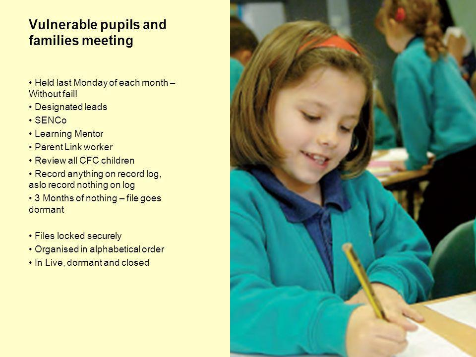 Vulnerable pupils and families meeting Held last Monday of each month – Without fail.