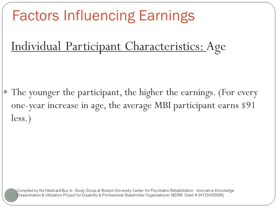 Factors Influencing Earnings 11 Individual Participant Characteristics: Age The younger the participant, the higher the earnings.