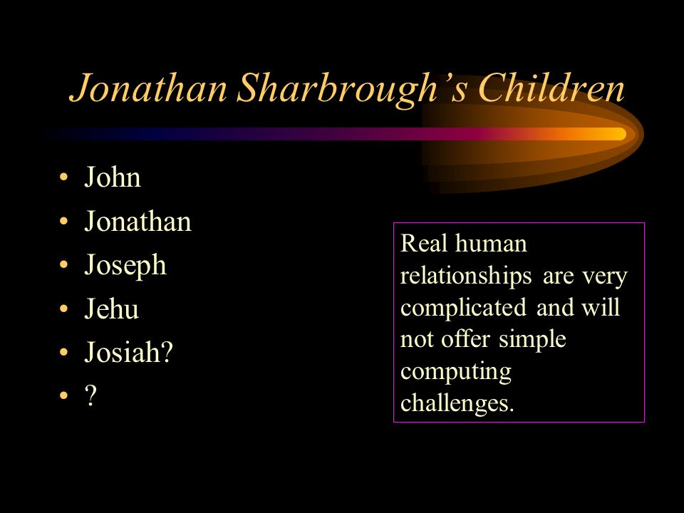 Jonathan Sharbroughs Children John Jonathan Joseph Jehu Josiah.