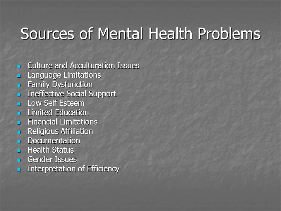 Sources of Mental Health Problems Culture and Acculturation Issues Culture and Acculturation Issues Language Limitations Language Limitations Family Dysfunction Family Dysfunction Ineffective Social Support Ineffective Social Support Low Self Esteem Low Self Esteem Limited Education Limited Education Financial Limitations Financial Limitations Religious Affiliation Religious Affiliation Documentation Documentation Health Status Health Status Gender Issues Gender Issues Interpretation of Efficiency Interpretation of Efficiency