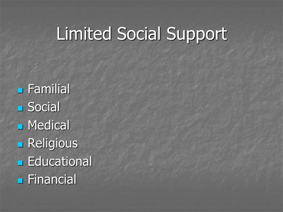 Limited Social Support Familial Familial Social Social Medical Medical Religious Religious Educational Educational Financial Financial
