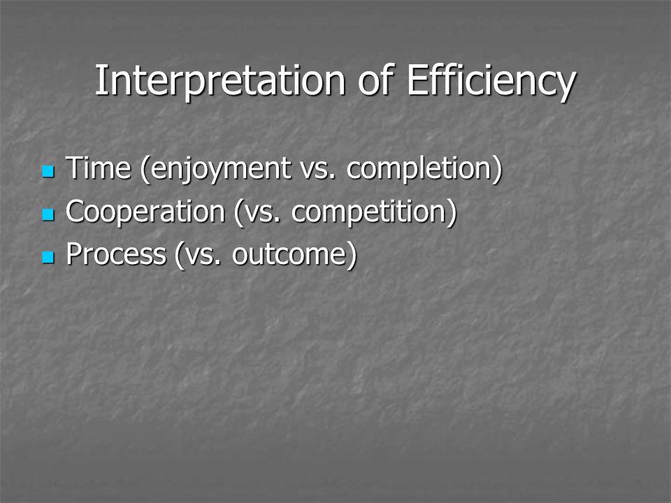 Interpretation of Efficiency Time (enjoyment vs.completion) Time (enjoyment vs.
