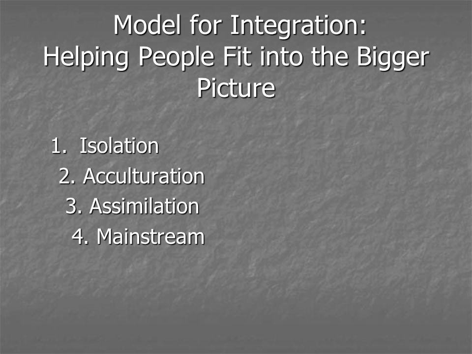Model for Integration: Helping People Fit into the Bigger Picture Model for Integration: Helping People Fit into the Bigger Picture 1.Isolation 2.