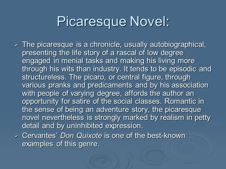 Picaresque Novel: The picaresque is a chronicle, usually autobiographical, presenting the life story of a rascal of low degree engaged in menial tasks and making his living more through his wits than industry.