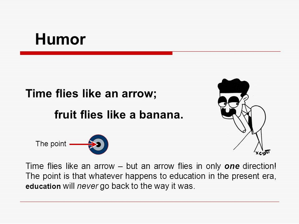 Humor Time flies like an arrow; fruit flies like a banana.