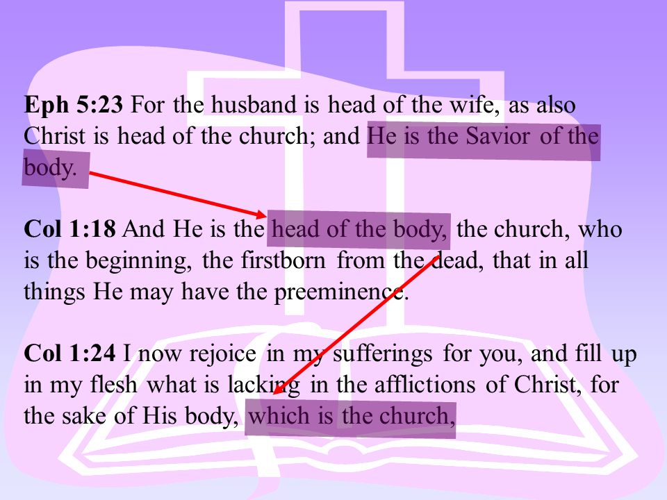 Eph 5:23 For the husband is head of the wife, as also Christ is head of the church; and He is the Savior of the body. Col 1:18 And He is the head of t