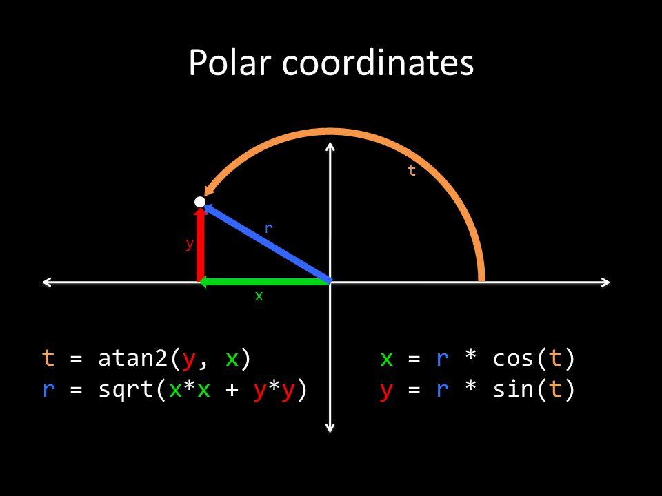 Polar coordinates y x r t x = r * cos(t) y = r * sin(t) t = atan2(y, x) r = sqrt(x*x + y*y)