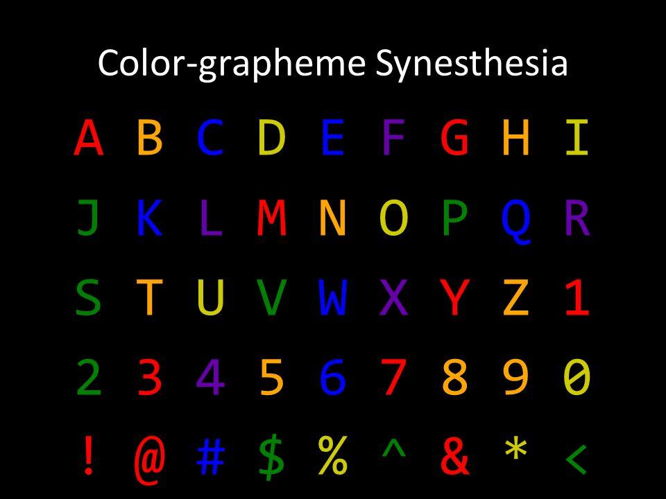 Color-grapheme Synesthesia A B C D E F G H I J K L M N O P Q R S T U V W X Y Z 1 2 3 4 5 6 7 8 9 0 .