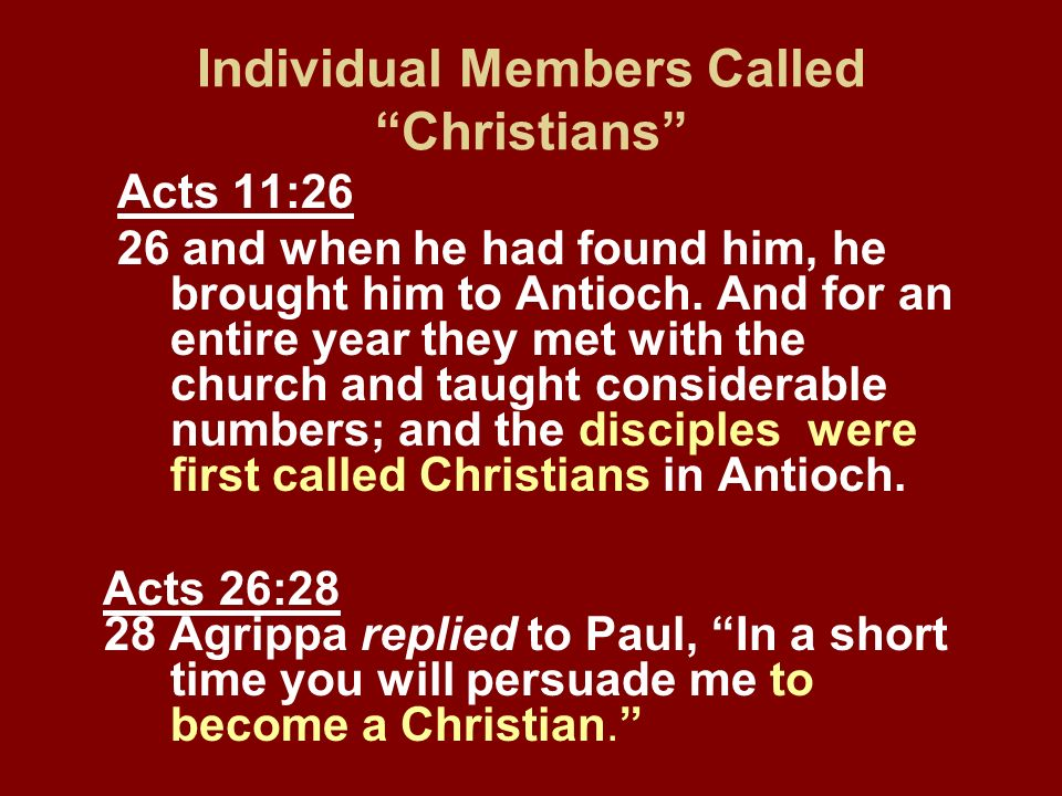 Individual Members Called Christians Acts 11:26 26 and when he had found him, he brought him to Antioch. And for an entire year they met with the chur