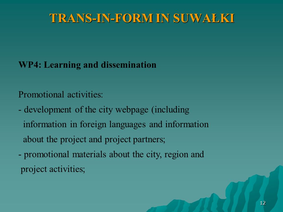 12 TRANS-IN-FORM IN SUWAŁKI WP4: Learning and dissemination Promotional activities: - development of the city webpage (including information in foreign languages and information about the project and project partners; - promotional materials about the city, region and project activities;