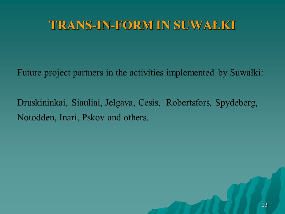 TRANS-IN-FORM IN SUWAŁKI Future project partners in the activities implemented by Suwałki: Druskininkai, Siauliai, Jelgava, Cesis, Robertsfors, Spydeb