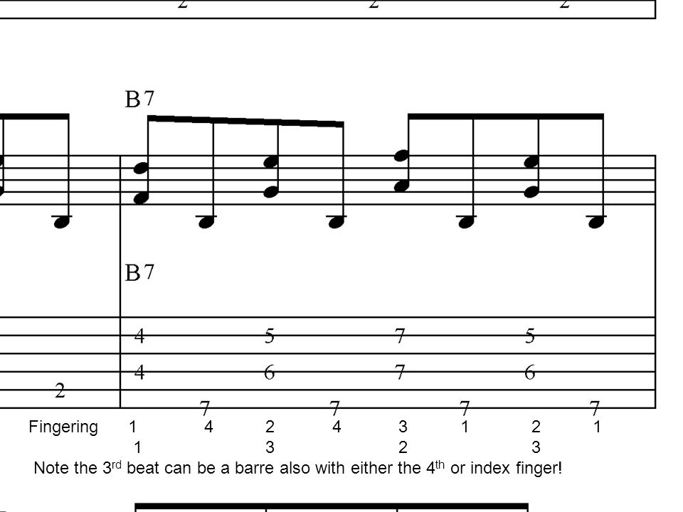 Fingering Note the 3 rd beat can be a barre also with either the 4 th or index finger!