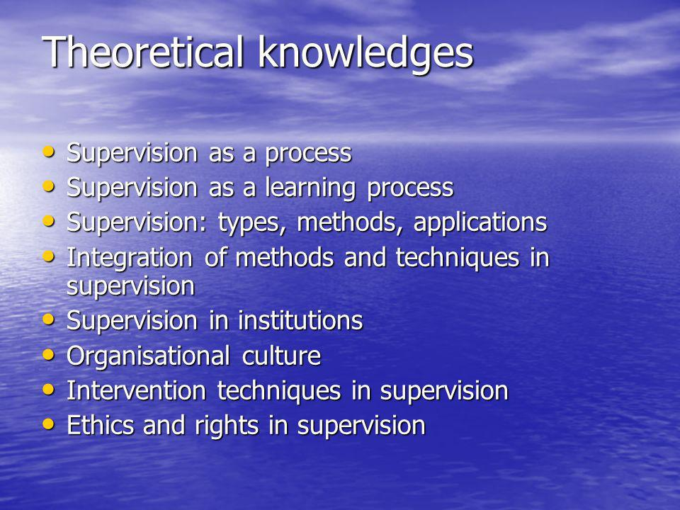 Theoretical knowledges Supervision as a process Supervision as a process Supervision as a learning process Supervision as a learning process Supervision: types, methods, applications Supervision: types, methods, applications Integration of methods and techniques in supervision Integration of methods and techniques in supervision Supervision in institutions Supervision in institutions Organisational culture Organisational culture Intervention techniques in supervision Intervention techniques in supervision Ethics and rights in supervision Ethics and rights in supervision