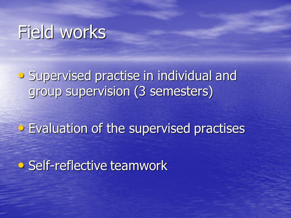 Field works Supervised practise in individual and group supervision (3 semesters) Supervised practise in individual and group supervision (3 semesters) Evaluation of the supervised practises Evaluation of the supervised practises Self-reflective teamwork Self-reflective teamwork
